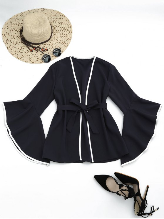 shop Flare Sleeve Belted Kimono Blouse - BLACK S