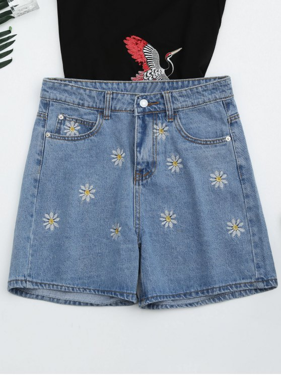 trendy High Waisted Daisy Embroidered Denim Shorts - DENIM BLUE S
