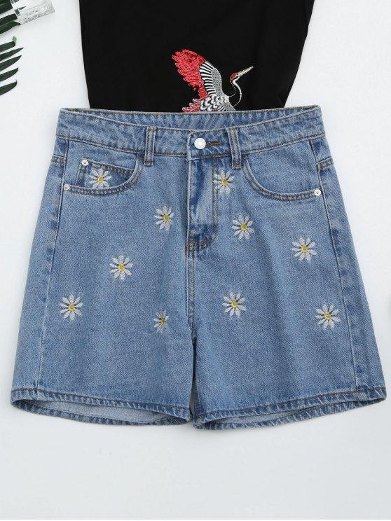 trendy High Waisted Daisy Embroidered Denim Shorts - DENIM BLUE S
