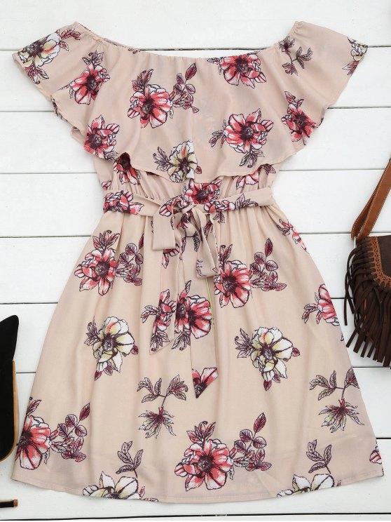 Mini Vestido Fuera del Hombro de Flores con Cinturón - Rosado L