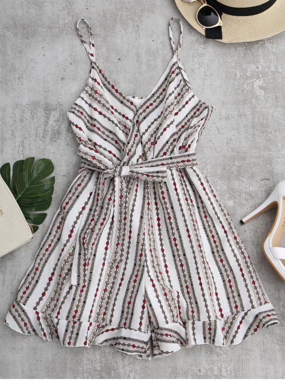online Geometric Print Belted Cami Romper - WHITE ONE SIZE