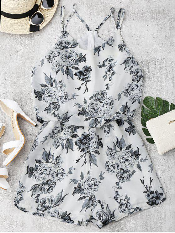 hot Floral Print Cami Romper - WHITE M