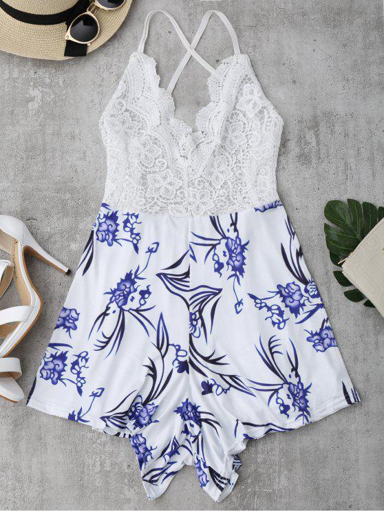 shop Lace Panel Printed Open Back Romper - WHITE L