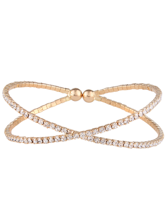 sale Double Crossed Loops Rhinestone Bangle - GOLDEN