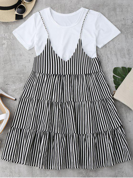 online Plain Tee with Striped Cami Dress Set - BLACK ONE SIZE