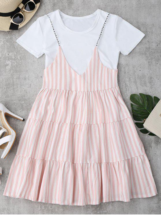 new Plain Tee with Striped Cami Dress Set - PINK ONE SIZE