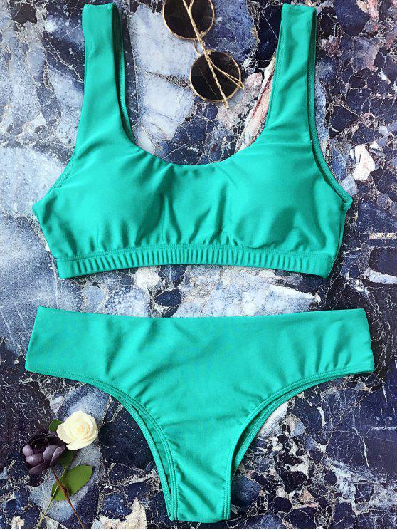 hot Padded Scoop Bikini Set - GREEN L