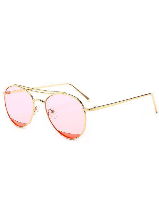 202d8b990 39% OFF] 2019 Óculos De Sol De Duplo Espelho De Metal Com Rosa ...