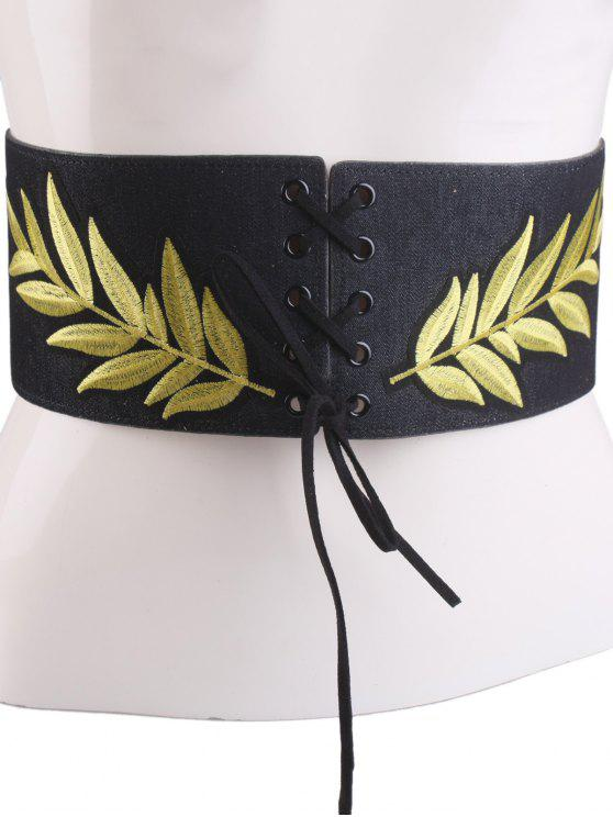 Lace Up Leaf Bordado Wide Corset Belt - Preto
