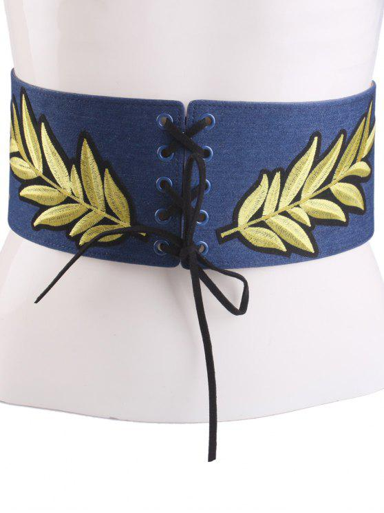 lady Lace Up Leaf Embroidery Wide Corset Belt - CERULEAN