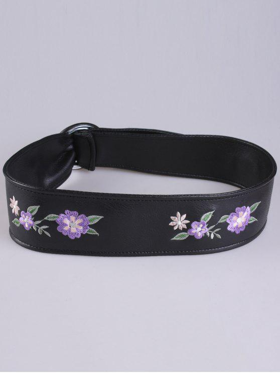 Faux Leather Round Buckle Floral Bordado Belt - Roxo
