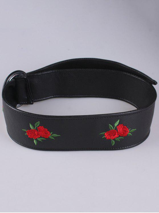 Faux Leather Round Buckle Floral Bordado Belt - Vermelho