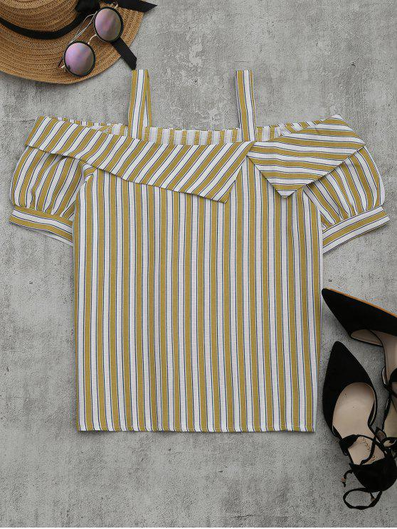 chic Cold Shoulder Striped Blouse - YELLOW XL