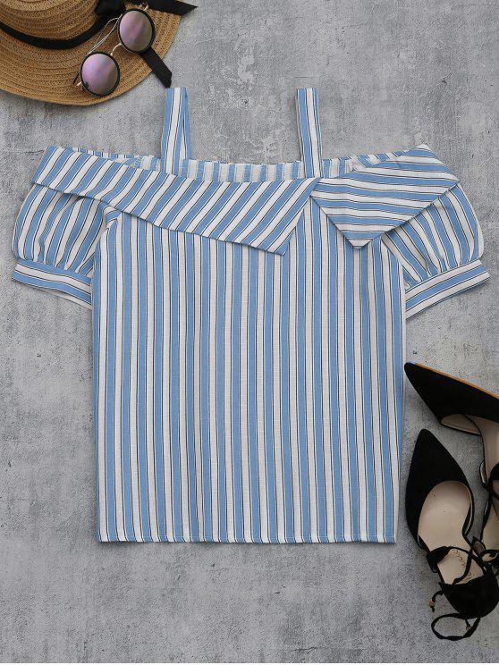 affordable Cold Shoulder Striped Blouse - LIGHT BLUE L
