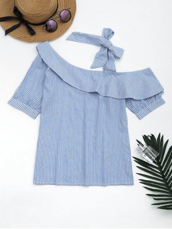 Blusa rayada del lazo del uno mismo del cuello de la inclinación - Cielo Azul L