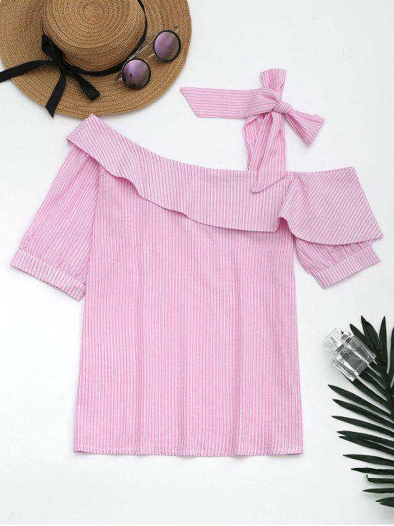 women's Skew Collar Self Tie Striped Blouse - PINK L