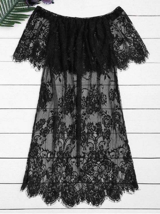 best Off The Shoulder Sheer Lace Blouse - BLACK M
