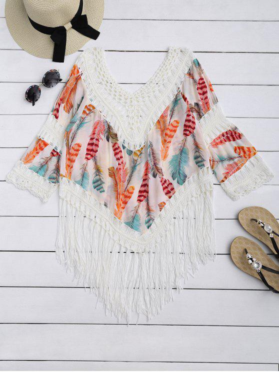 hot Feather Print Crochet Fringed Blouse - BEIGE ONE SIZE