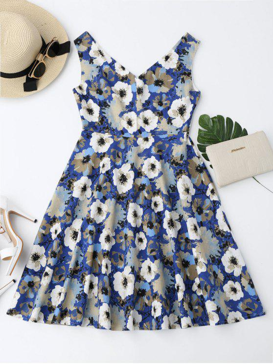 unique Notched Collar Flower Flare Dress - FLORAL L