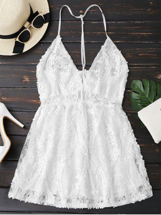 Vestido de Encaje con Lentejuelas con Tirante Fino - Blanco S