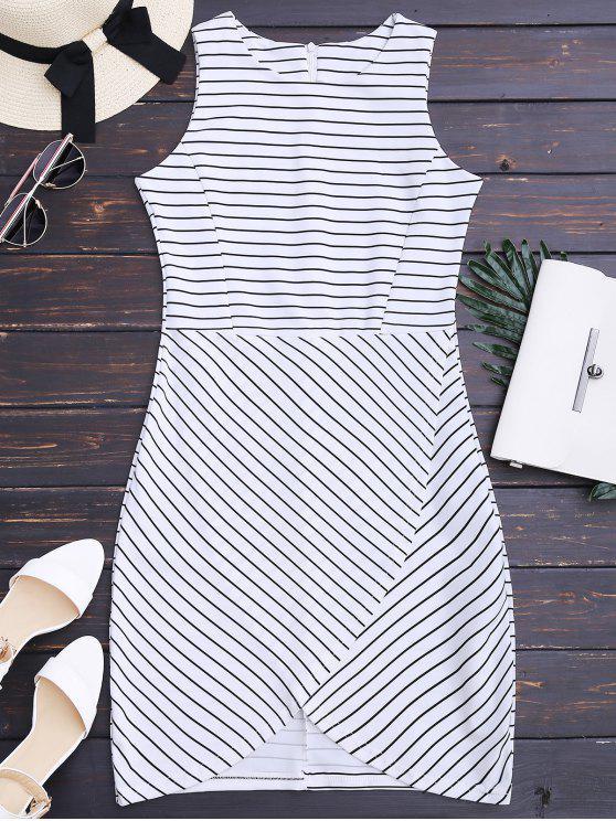 new Round Collar Sleeveless Striped Dress - STRIPE S