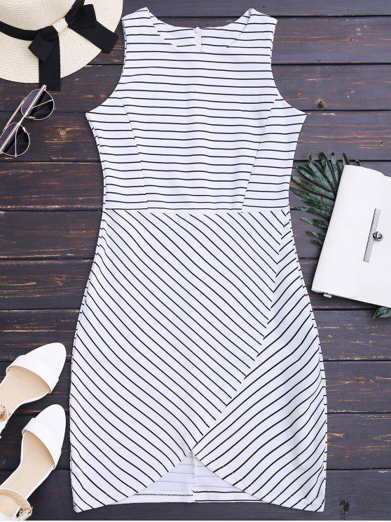 outfit Round Collar Sleeveless Striped Dress - STRIPE L