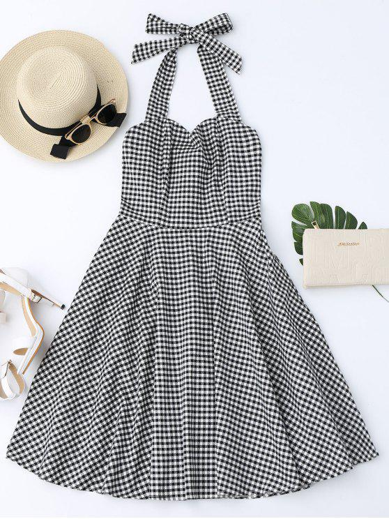 trendy Halter Vintage Checked Dress - CHECKED XL