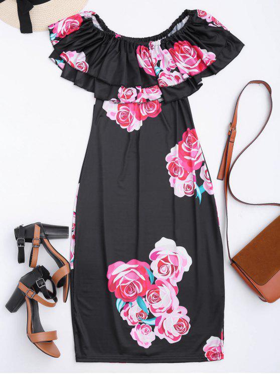 Robe à épaules tombantes imprimée de motif floral avec falbalas - Noir L