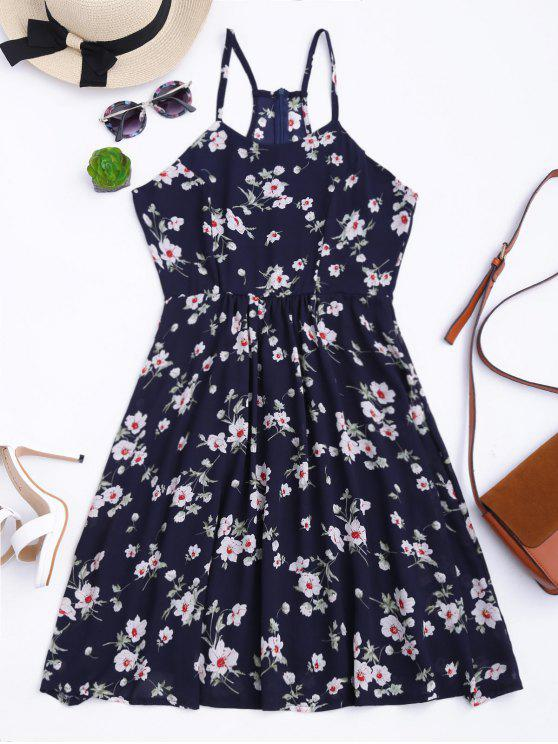فستان فضفاض كامي طباعة الأزهار المصغرة - الأرجواني الأزرق S