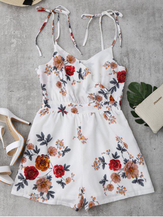 women Floral Print Self Tie Cami Romper - WHITE L