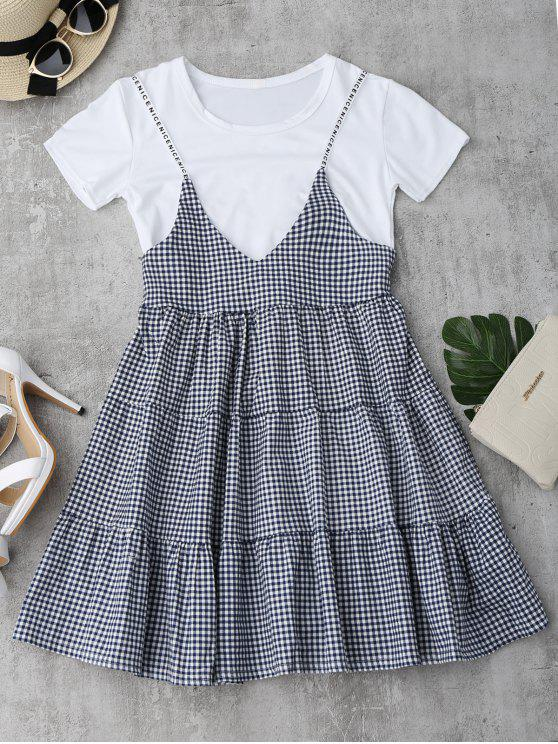 outfit Plain Tee with Checked Cami Dress Set - CHECKED ONE SIZE