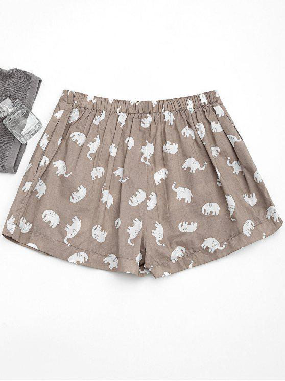 sale Pockets Elephant Print Loungewear Shorts - LIGHT KHAKI S