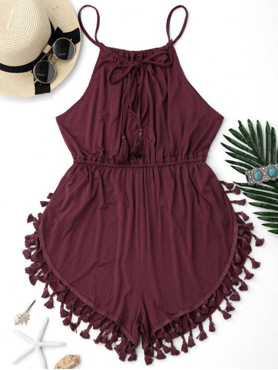 women Tassel Cover Up Dolphin Romper - BURGUNDY S