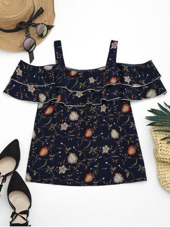 outfits Cold Shoulder Ruffles Floral Print Blouse - PURPLISH BLUE M