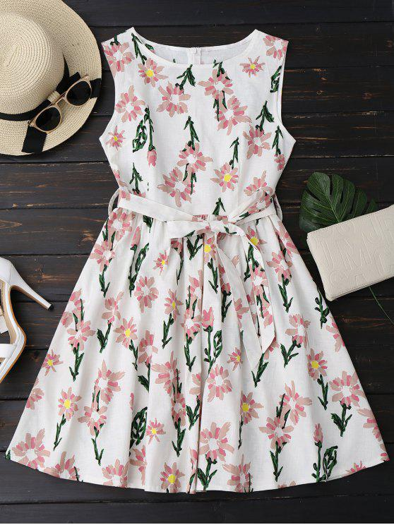 fashion Floral Print Sleeveless Belted Dress - FLORAL S