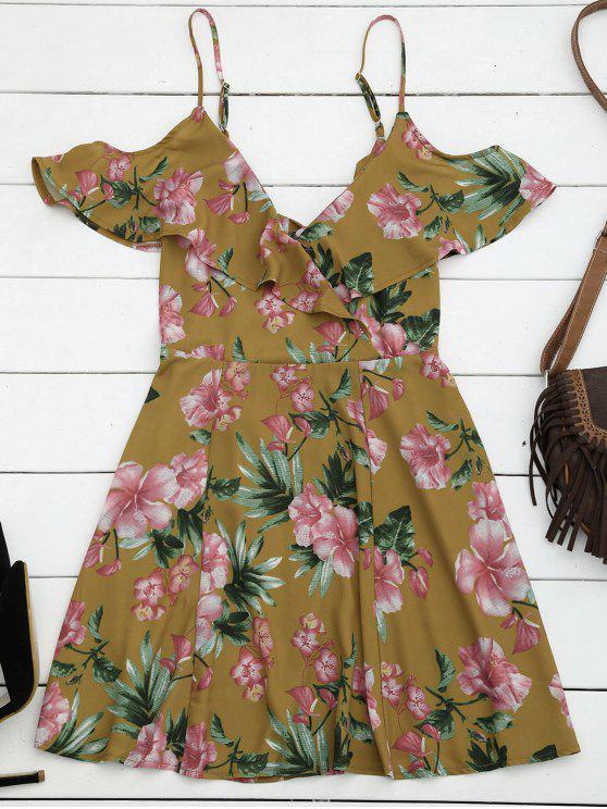 فستان قطع كشكش باردة الكتف مصغر - الأزهار L