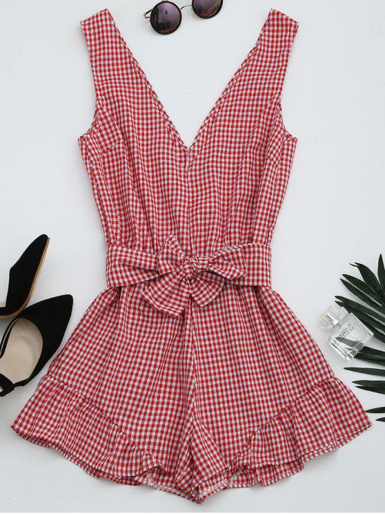 hot Checked Plunge Romper - CHECKED S