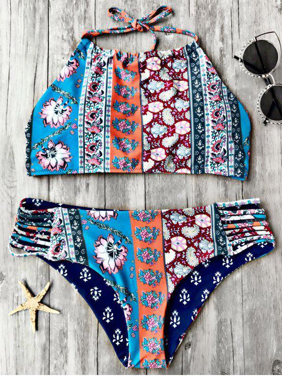 chic Patchwork Print High Neck Bikini Set - FLORAL S