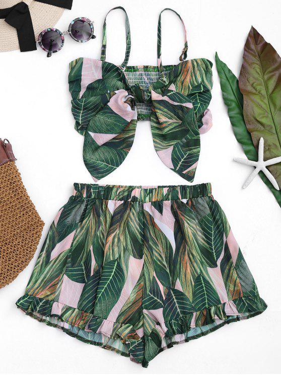 affordable Bowknot Leaf Print Smocked Top with Ruffles Shorts - FLORAL S