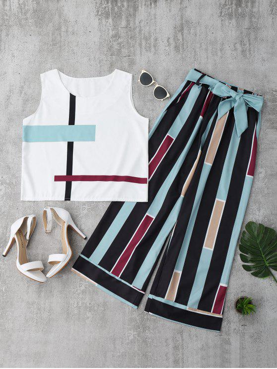 lady Striped Tank Top and Belted Pants - LIGHT BLUE M