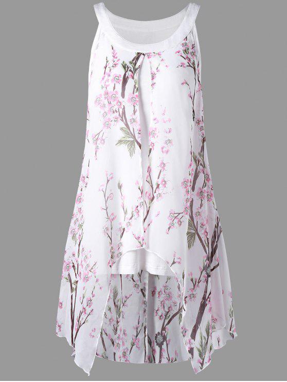 trendy Plus Size Tiny Floral High Low Blouse - WHITE 5XL