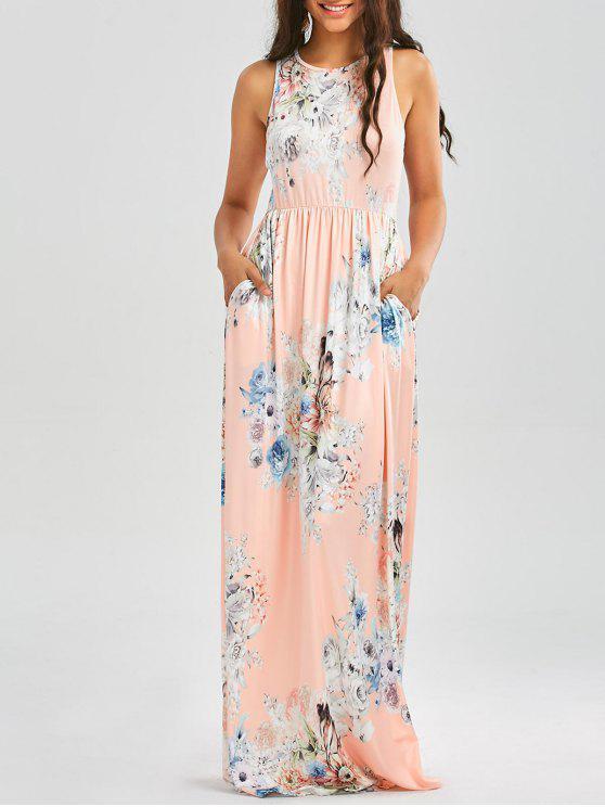 Blumendruck ärmelloses Taillen-Maxi-Kleid - orange pink  S