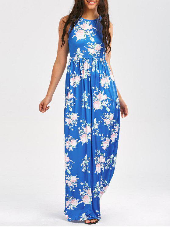 Blumendruck ärmelloses Taillen-Maxi-Kleid - Himmelblau S