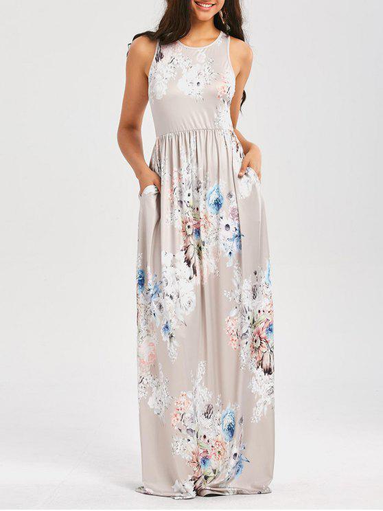 Blumendruck ärmelloses Taillen-Maxi-Kleid - Hellgrau S