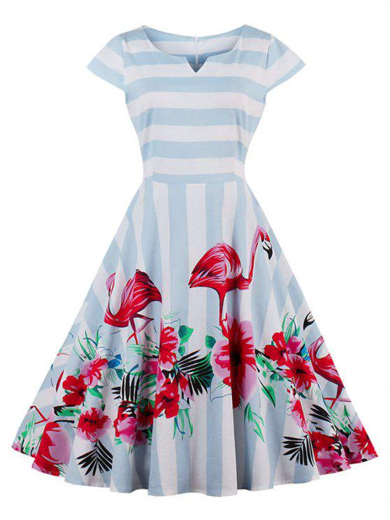 new Floral Flamingo Print Striped Vintage Dress - LIGHT BLUE XL