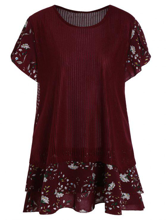 77c90588f 28% OFF  2019 Short Sleeve Floral Plus Size Top In WINE RED