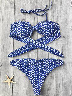 Striped Knotted Bandeau Bikini Top And Bottoms - Blue L