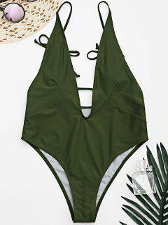 Tied Cami Plunging Neck High Cut Swimsuit - Army Green M