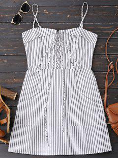 Lace Up Stripes Mini Dress With Two Pockets - Stripe M
