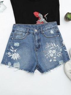 Cutoffs Ripped Floral Embroidered Denim Shorts - Denim Blue S